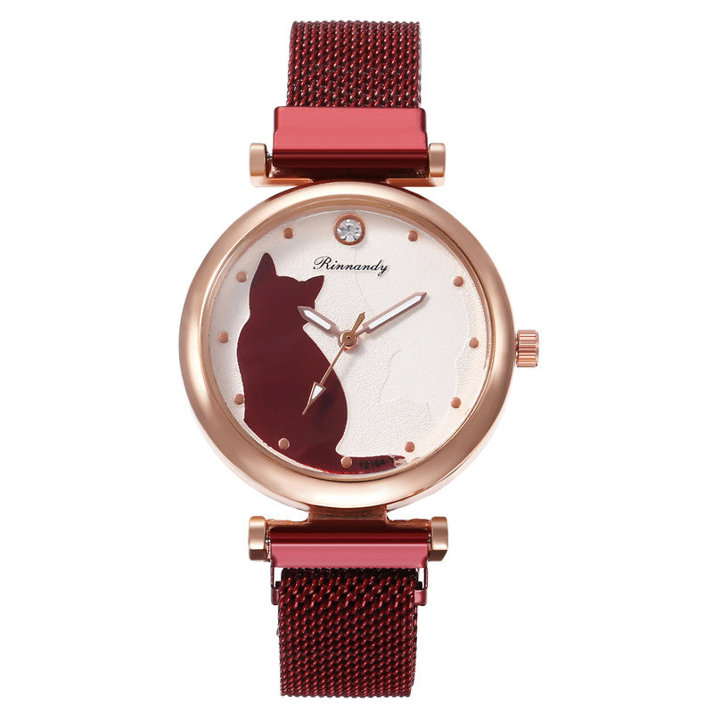 Mesh Strap Cat Watch, Burgundy Red