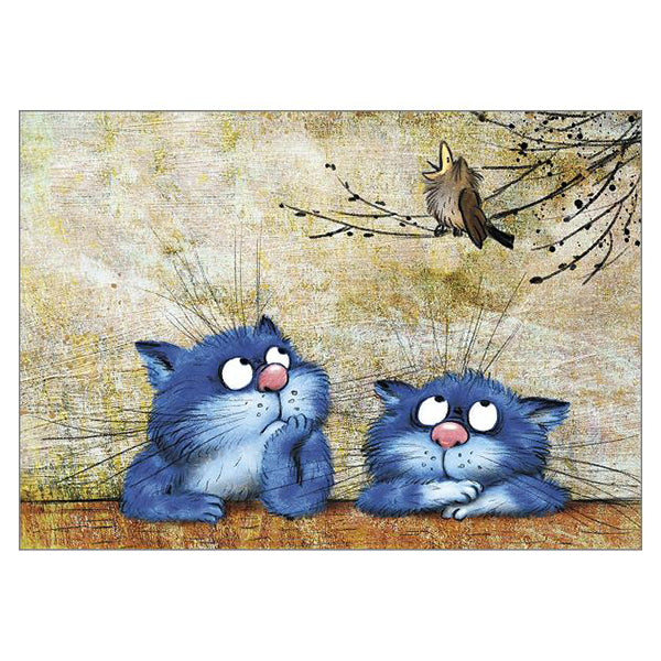 Not Again A5 Portrait Cat Card by Rita Zeniuk.  Blank for your own message.