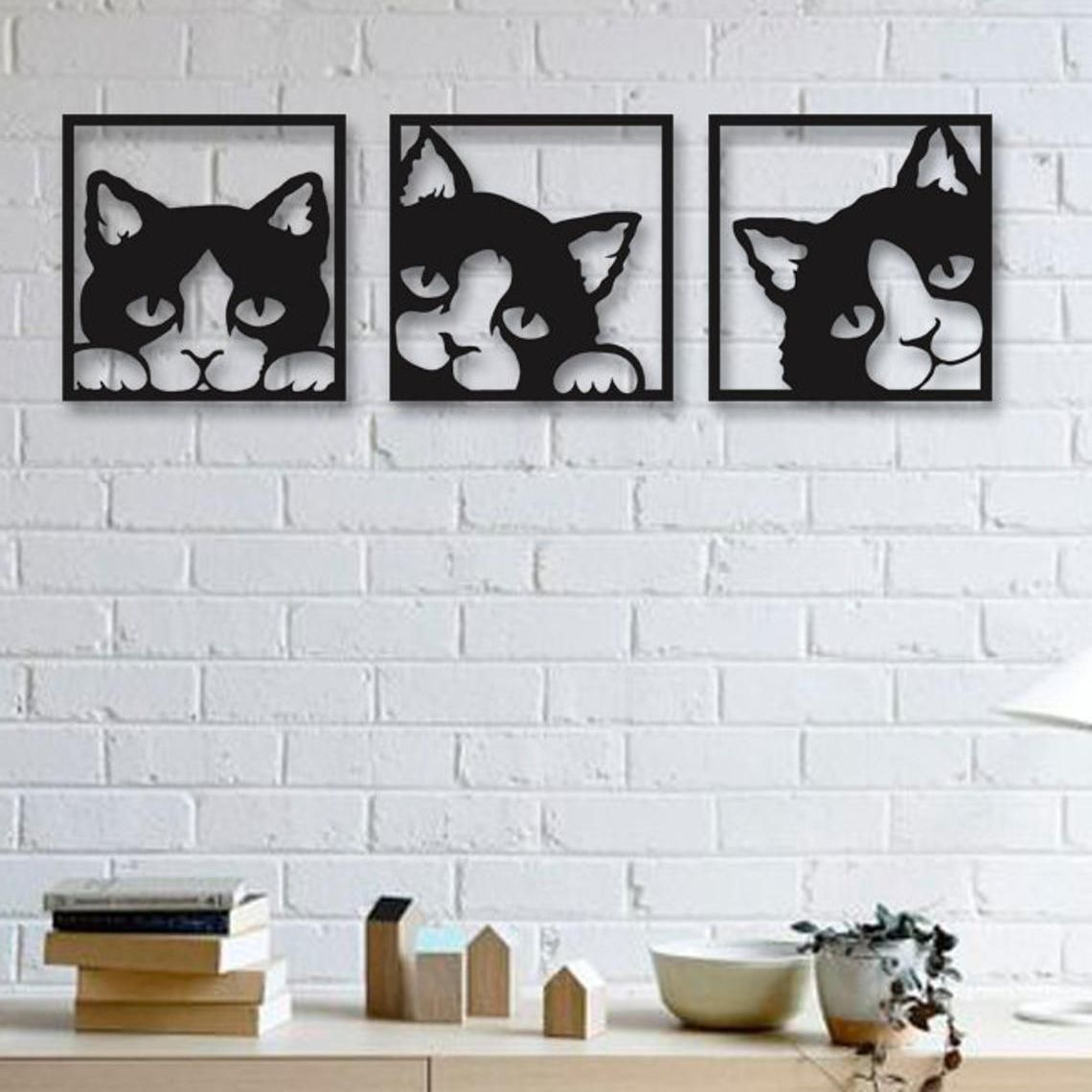 Peeping Cat Wall Art Trio