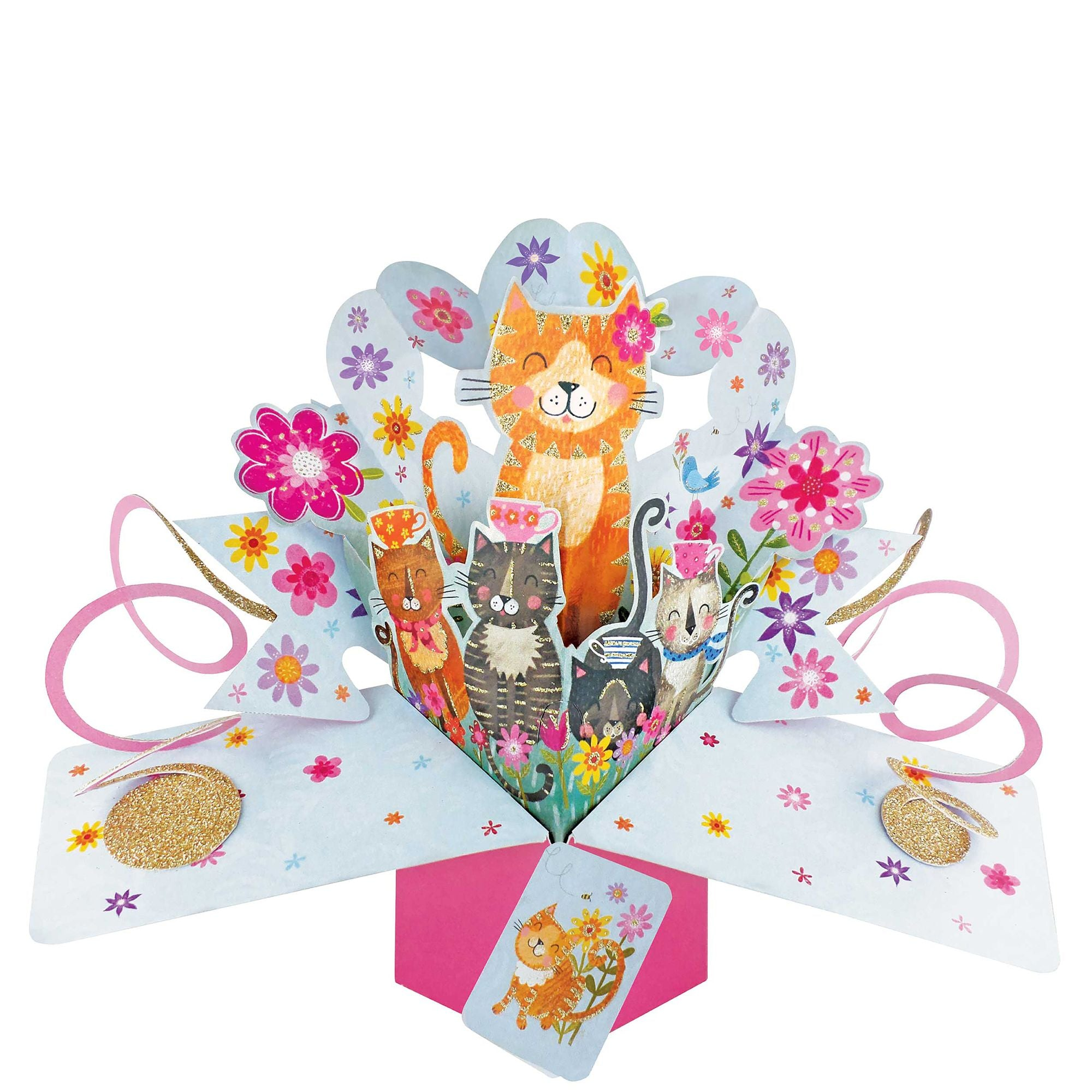 Pop-up Cats and Flowers Card