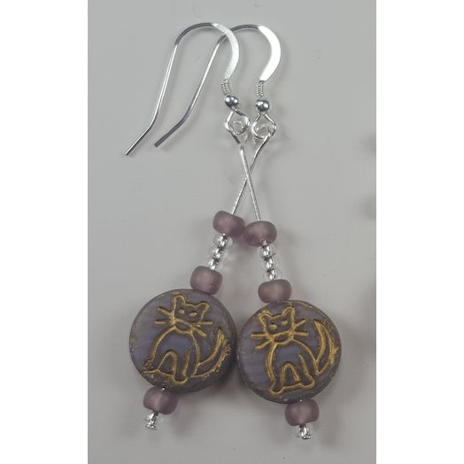 Mauve Glass Bead Cat Earrings