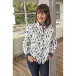 50% OFF Ladies Cotton Shirt with Black Cat Motif (Only Medium size left)