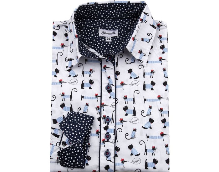 Quality Cotton Ladies Shirt with Cat & Dog Motif
