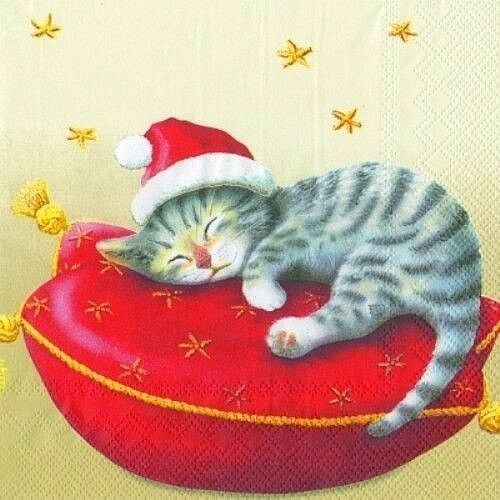 Santa Cat Christmas Napkins