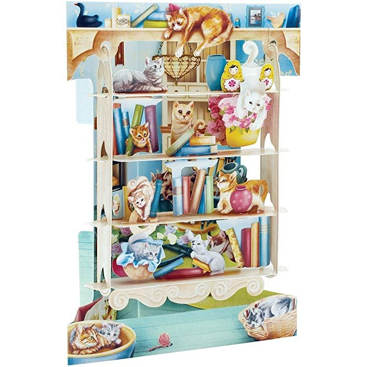 Cats on Bookshelves Swing Card