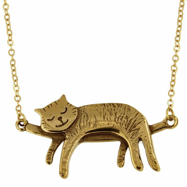 Sleeping Cat Pewter Necklace, Bronze
