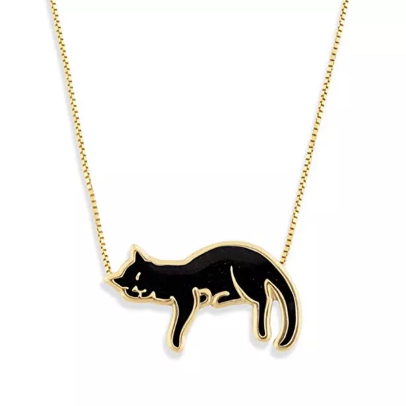 Sleeping Cat Gold Necklace