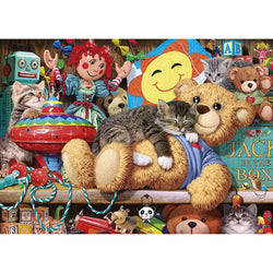 Snoozing on the Ted 1000 piece Cat Jigsaw