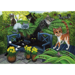 Spring Fever canvas print by Tamsin Lord.  Features characterful cats playing in a garden