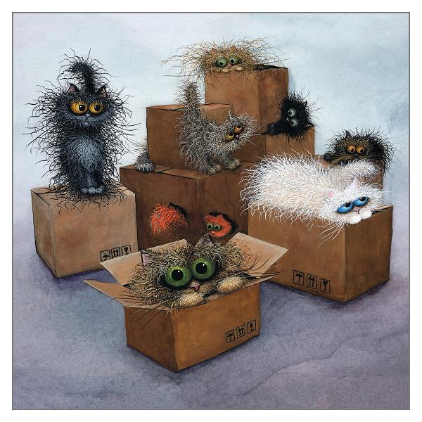 Cardboard City Theme Park Cat Card by Tamsin Lord