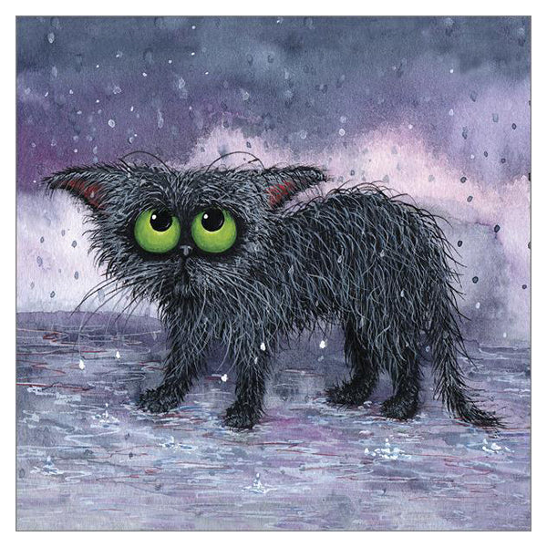 One Soggy Spectacle Cat Card by Tamsin Lord