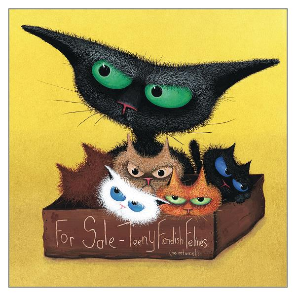 Teeny Fiendish Felines For Sale Cat Card by Tamsin Lord