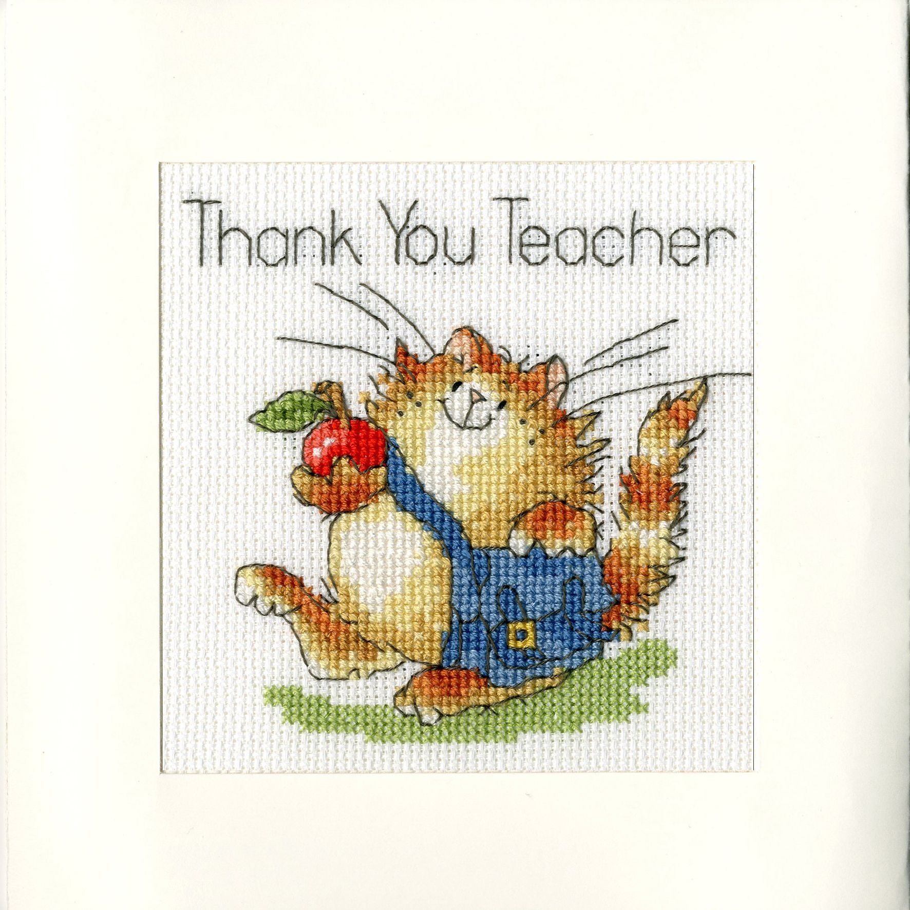 "Cat Themed ""Thank You Teacher"" Cross Stitch Kit"