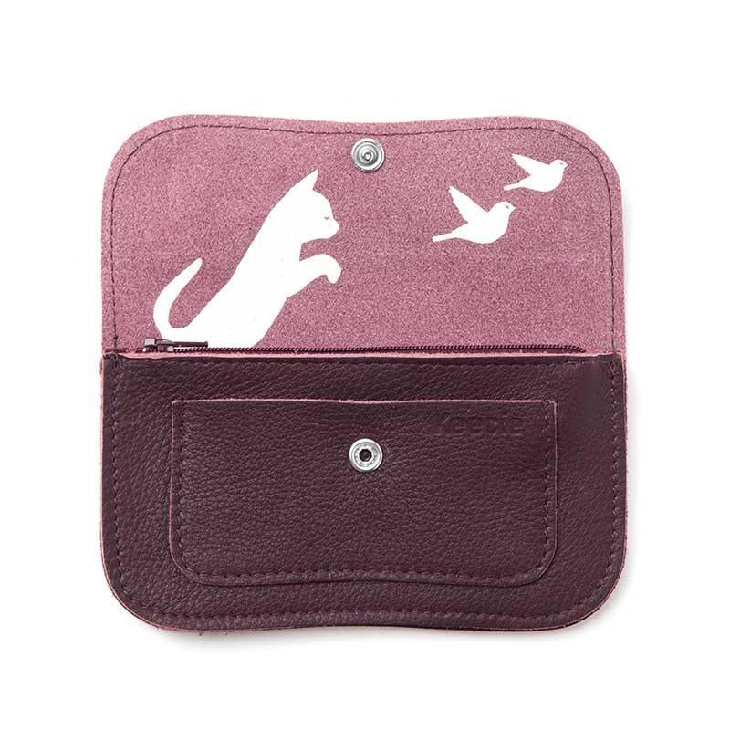 Cat Chase Leather Purse, Aubergine