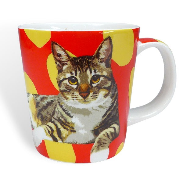 Tabby cat porcelain mug with gift box