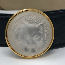 Vintage Leather Belt with Lalique Glass Cat Buckle (as new, boxed)