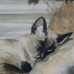 Vintage ORIGINAL Siamese Watercolour by Heather Semark