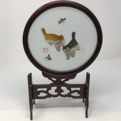 Vintage Suzhou Double Sided Cat Embroidery and Stand