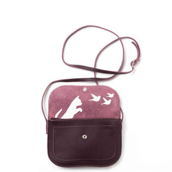 Cats Chase Leather Handbag, Aubergine