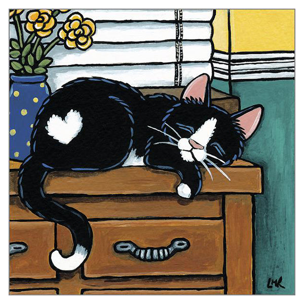 Cat Nap Card featuring a black and white cat.  By Lisa Robinson