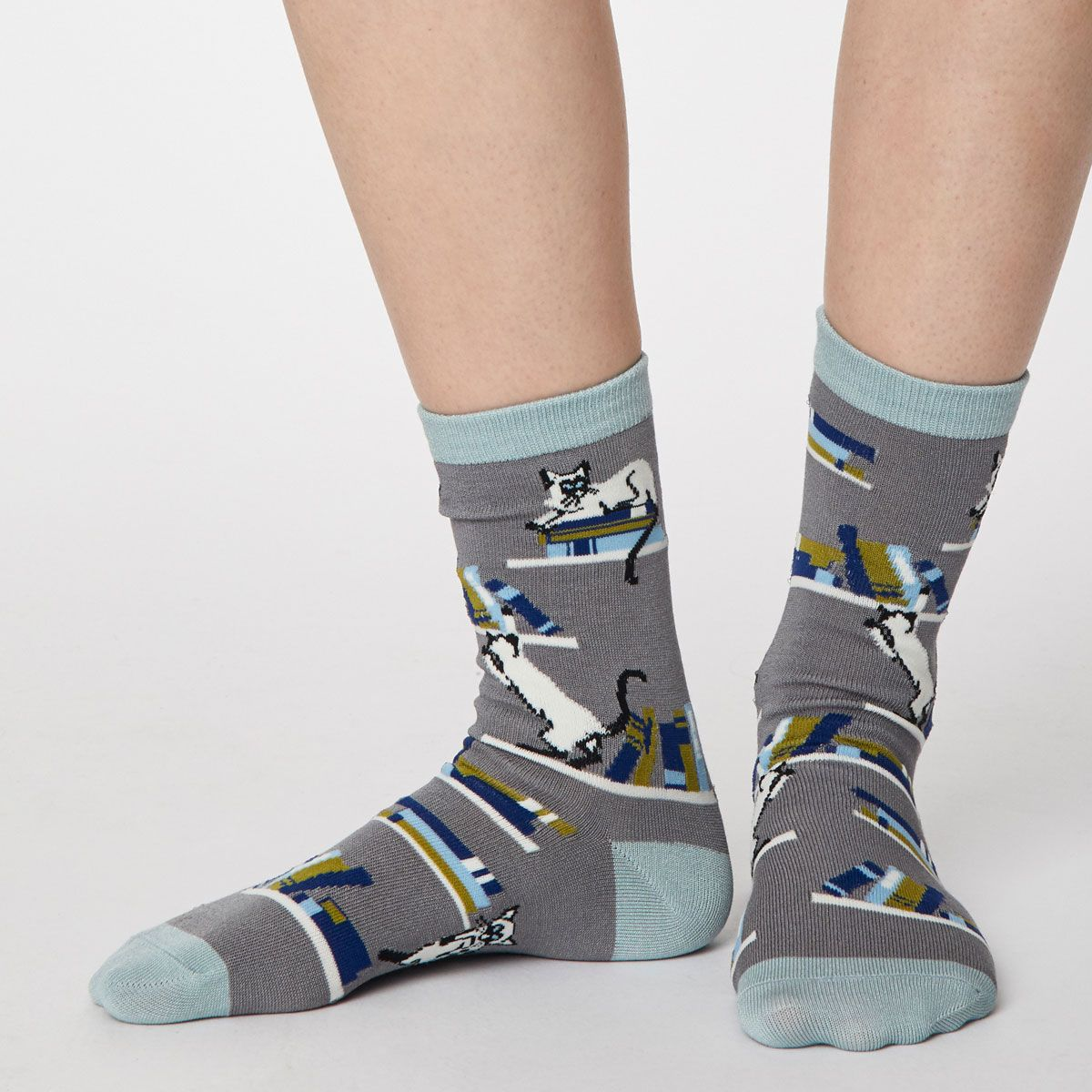 Siamese Cat Socks, Pebble Grey UK 4-7