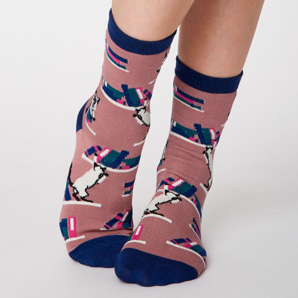 Siamese Cat Socks, Rose Pink UK 4-7
