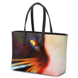 Whisker Face Leather Tote Bag