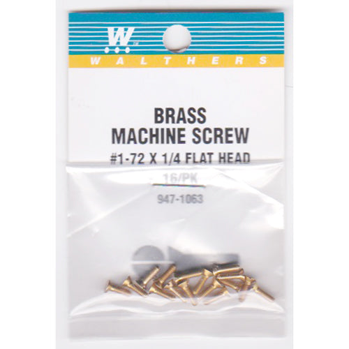 Walthers 947-1063 #1-72 Brass Flat Head Machine Screws 1/4 x .073