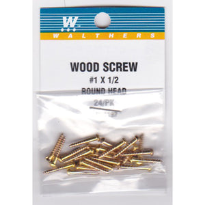 "Walthers 947-1197 #1 Brass or Brass-Plated Wood Screws 1/2 x .073"" (24)"