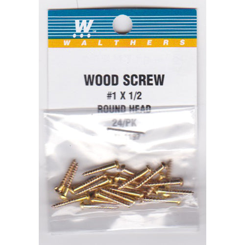 Walthers 947-1197 #1 Brass or Brass-Plated Wood Screws 1/2 x .073