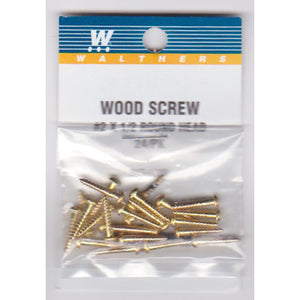 "Walthers 947-1199 #2 Brass or Brass-Plated Wood Screws 1/2 x .086"" (24)"