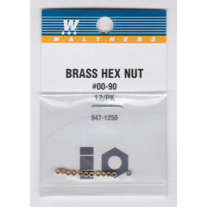 "Walthers 947-1250 #00-90 Brass Hex Nuts .040 x 5/64"" (12)"
