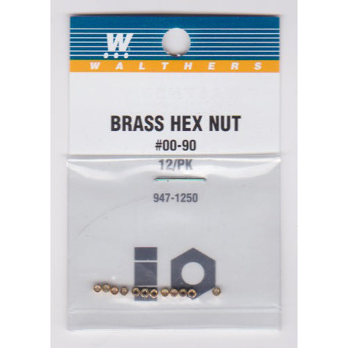 Walthers 947-1250 #00-90 Brass Hex Nuts .040 x 5/64