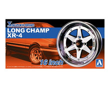 "Load image into Gallery viewer, Aoshima 1/24 Rim & Tire Set ( 10) Long Champ XR-4 16"" 05249"