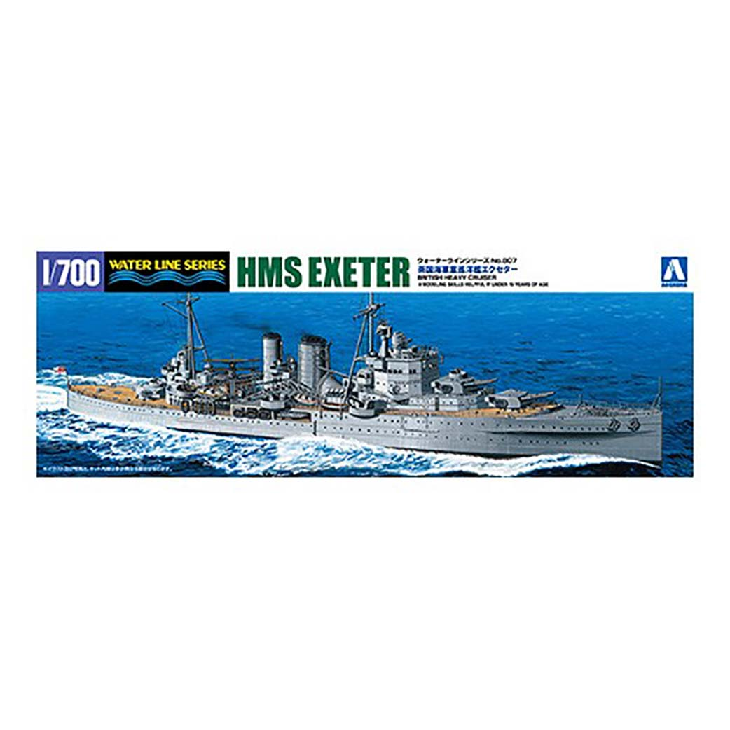 Aoshima 1/700 HMS Heavy Cruiser Exeter w PE and Wood Deck Combo 05273C