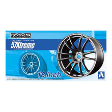 "Load image into Gallery viewer, Aoshima 1/24 Rim & Tire Set ( 23) Rays Gram Lights 57Xtreme 18"" 05301"