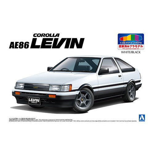Aoshima 1/24 Toyota AE86 Corolla Levin White /Black Painted Body 05495