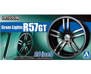 "Aoshima 1/24 Rim & Tire Set ( 81) Gram Lights R57GT 20"" 05515"