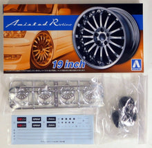 "Load image into Gallery viewer, Aoshima 1/24 Rim & Tire Set ( 85) Amistad Rotino 19"" 5527"