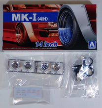 "Load image into Gallery viewer, Aoshima 1/24 Rim & Tire Set ( 54) MK-II (4H) 14"" 05387"