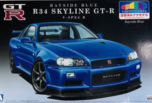 Load image into Gallery viewer, Aoshima 1/24 Nissan R34 Skyline GT-R V-Spec II Bayside Blue PLASTIC KIT 0859