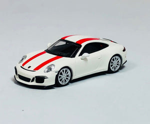 Minichamps 1/87 HO Porsche 911 R White / Red Stripe 870066220