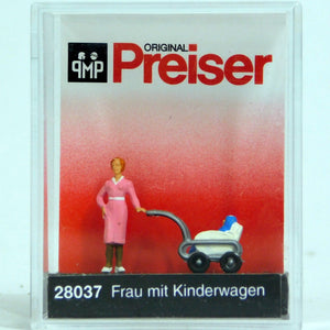 Preiser 1/87 HO Woman w/Baby Carriage 28037