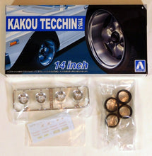 "Load image into Gallery viewer, Aoshima 1/24 Rim & Tire Set ( 78) Kakou Tecchin Type 3 14"" 5469"