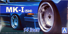 "Load image into Gallery viewer, Aoshima 1/24 Rim & Tire Set ( 67) MK-1 (5H) 14"" 5438"