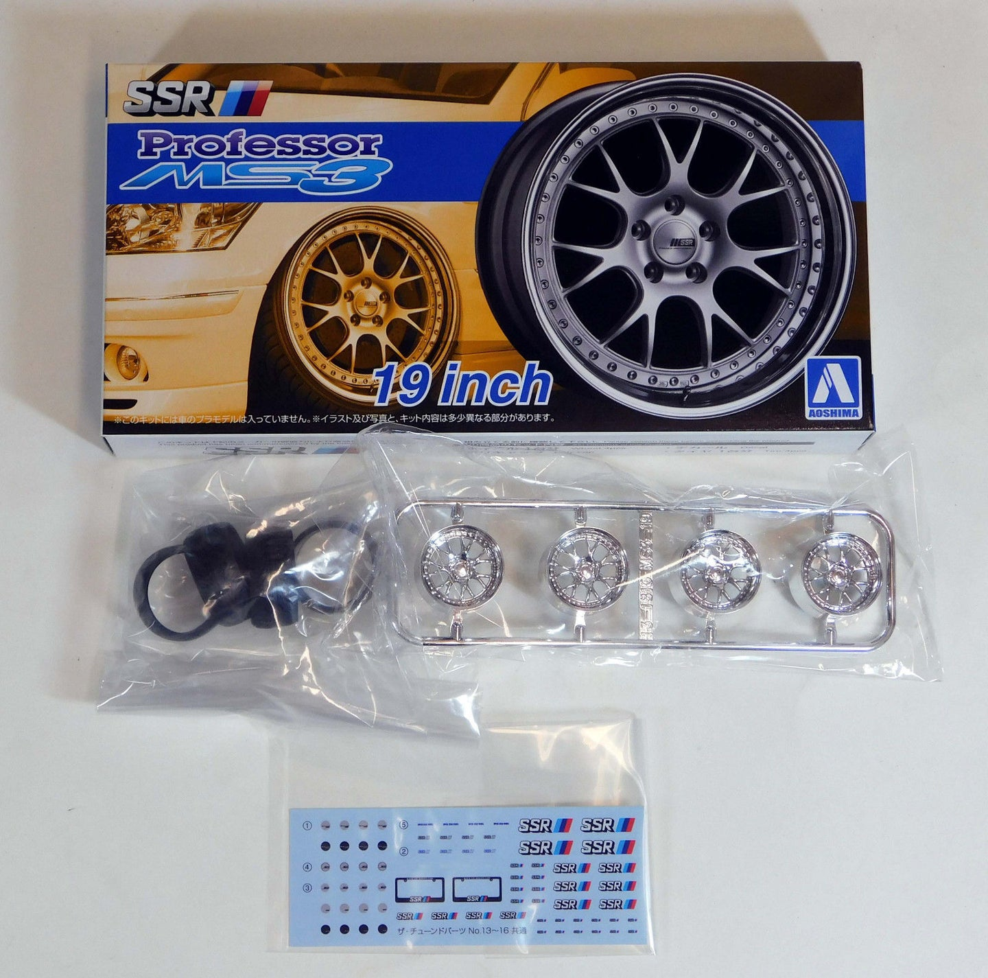 Aoshima 1/24 Rim & Tire Set ( 16) SSR Professor MS3 19