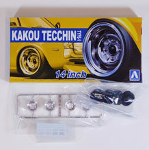 "Load image into Gallery viewer, Aoshima 1/24 Rim & Tire Set ( 30) Kakou Tecchin 14"" 05323"