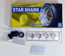 "Load image into Gallery viewer, Aoshima 1/24 Rim & Tire Set ( 19) Star Shark 14"" 05258"