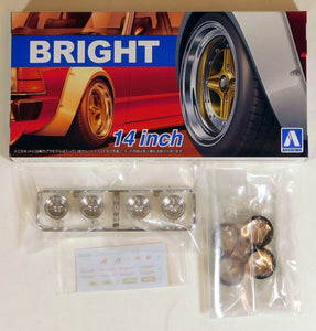 "Aoshima 1/24 Rim & Tire Set ( 79) Bright 14""  05470"