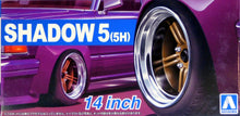"Load image into Gallery viewer, Aoshima 1/24 Rim & Tire Set ( 66) Shadow 5 (5H) 14"" 05437"